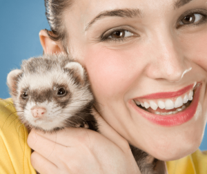 smiling lady holding a ferret